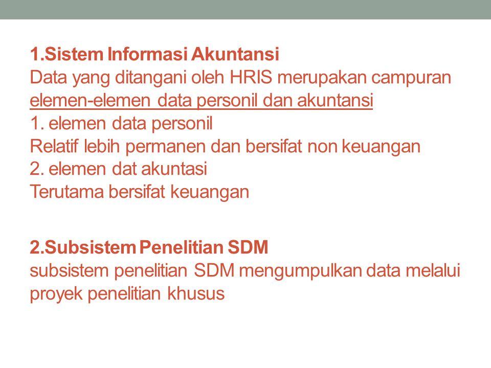 1.Sistem Informasi Akuntansi Data yang ditangani oleh HRIS merupakan campuran elemen-elemen data personil dan akuntansi 1. elemen data personil Relati