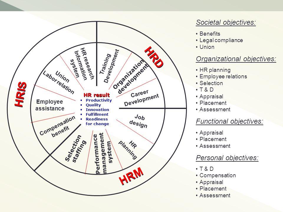 Training Development Organization development Career Development Job design HR planning Selection staffing Compensation benefit Employee assistance Pe