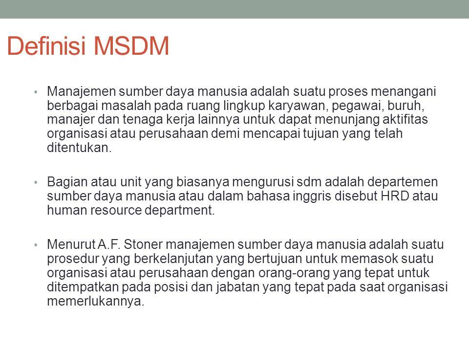 Definisi MSDM Manajemen sumber daya manusia adalah suatu proses menangani berbagai masalah pada ruang lingkup karyawan, pegawai, buruh, manajer dan te