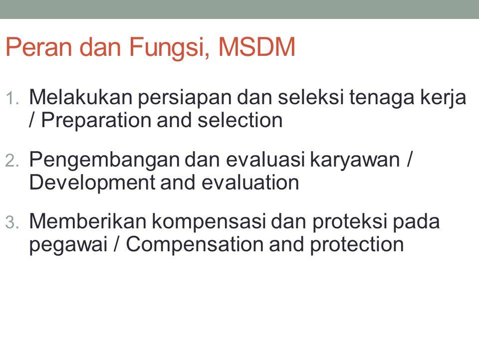 Peran dan Fungsi, MSDM 1. Melakukan persiapan dan seleksi tenaga kerja / Preparation and selection 2. Pengembangan dan evaluasi karyawan / Development