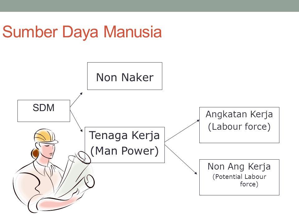 Sumber Daya Manusia SDM Non Naker Tenaga Kerja (Man Power) Angkatan Kerja (Labour force) Non Ang Kerja (Potential Labour force)