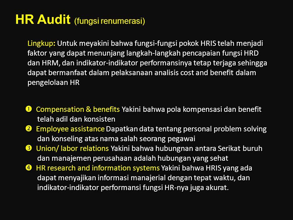 Lingkup: Untuk meyakini bahwa fungsi-fungsi pokok HRIS telah menjadi faktor yang dapat menunjang langkah-langkah pencapaian fungsi HRD dan HRM, dan in