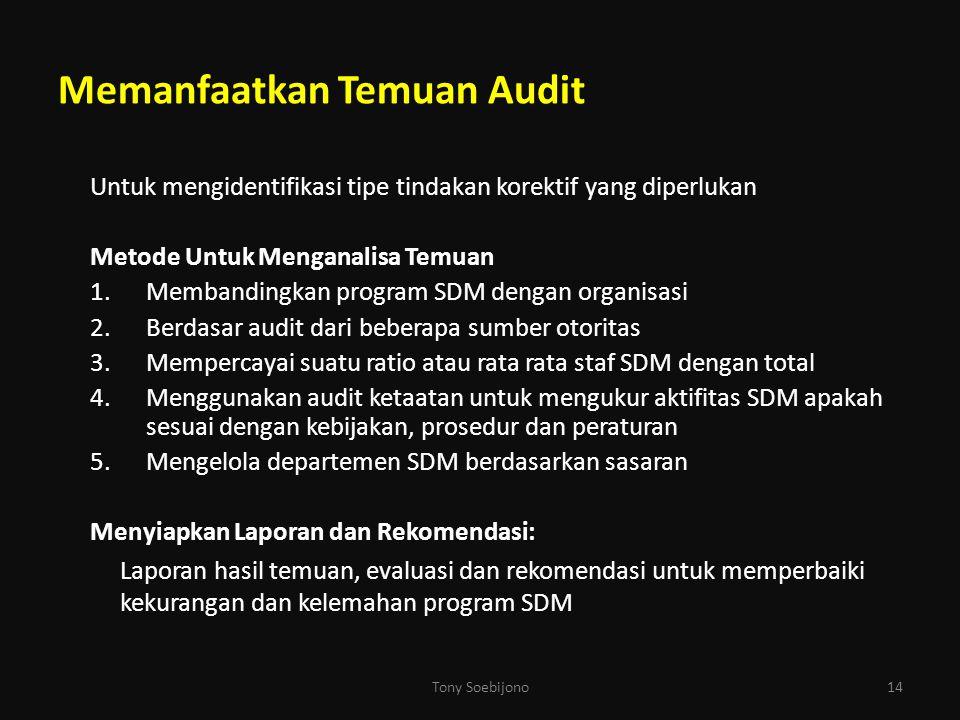 Memanfaatkan Temuan Audit Untuk mengidentifikasi tipe tindakan korektif yang diperlukan Metode Untuk Menganalisa Temuan 1.Membandingkan program SDM de