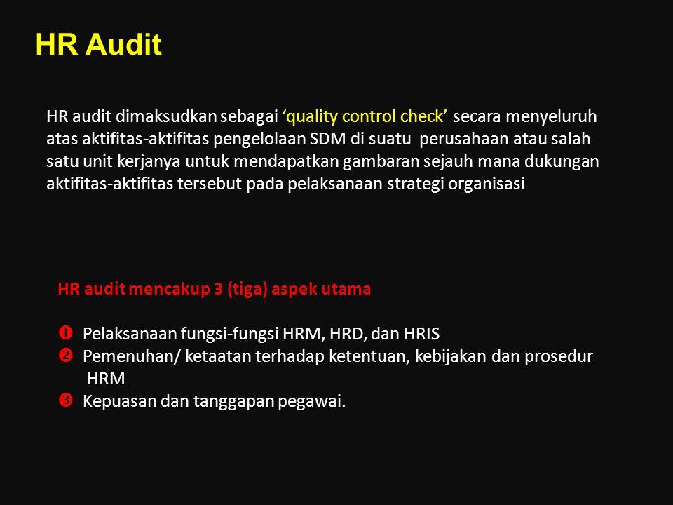 HR audit dimaksudkan sebagai 'quality control check' secara menyeluruh atas aktifitas-aktifitas pengelolaan SDM di suatu perusahaan atau salah satu un