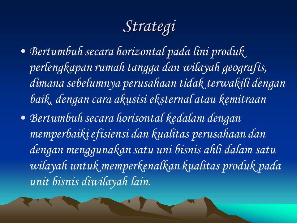 Strategi Bertumbuh secara horizontal pada lini produk perlengkapan rumah tangga dan wilayah geografis, dimana sebelumnya perusahaan tidak terwakili de