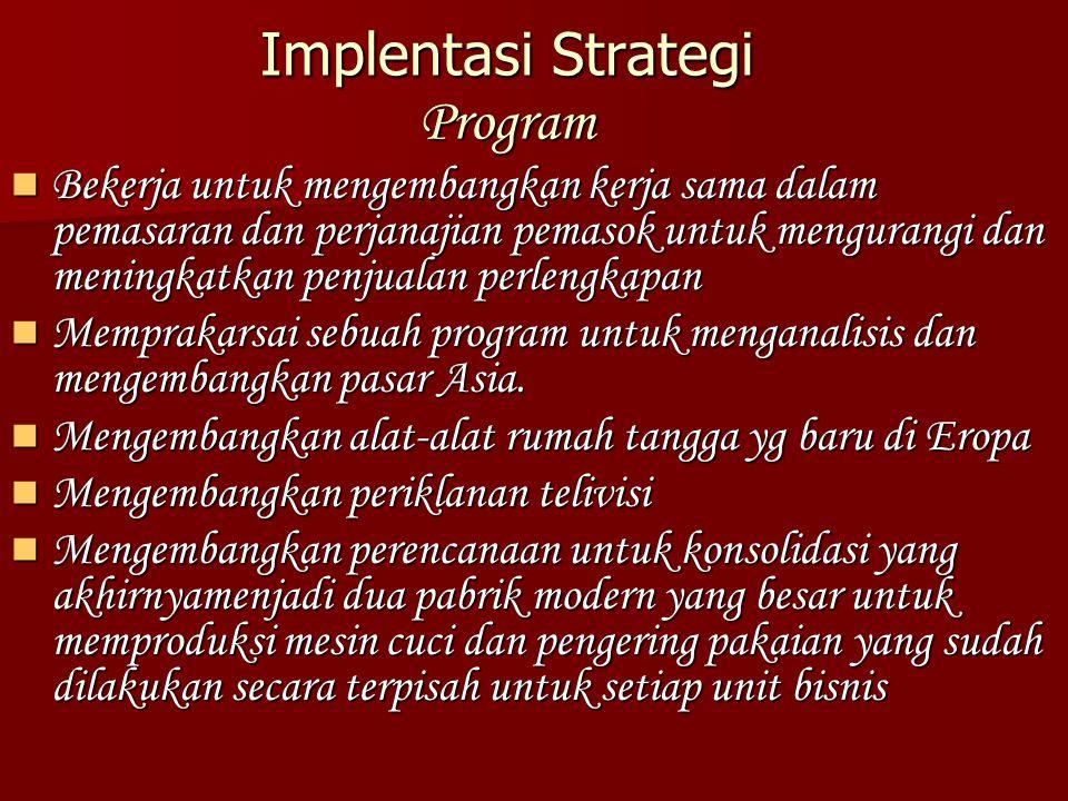 Implentasi Strategi Program Bekerja untuk mengembangkan kerja sama dalam pemasaran dan perjanajian pemasok untuk mengurangi dan meningkatkan penjualan perlengkapan Bekerja untuk mengembangkan kerja sama dalam pemasaran dan perjanajian pemasok untuk mengurangi dan meningkatkan penjualan perlengkapan Memprakarsai sebuah program untuk menganalisis dan mengembangkan pasar Asia.