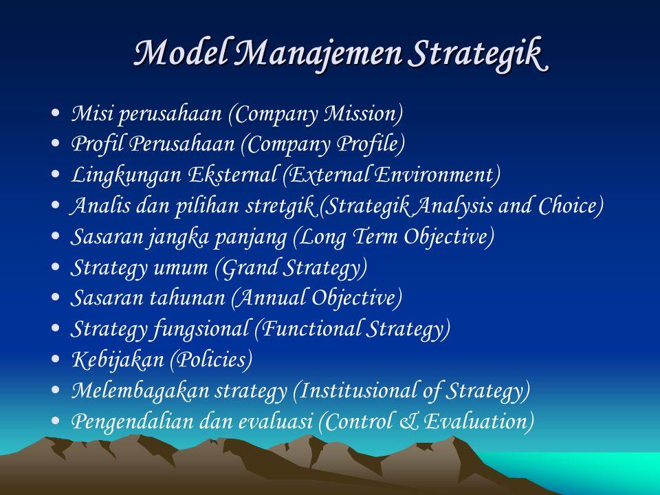 Model Manajemen Strategik Misi perusahaan (Company Mission) Profil Perusahaan (Company Profile) Lingkungan Eksternal (External Environment) Analis dan pilihan stretgik (Strategik Analysis and Choice) Sasaran jangka panjang (Long Term Objective) Strategy umum (Grand Strategy) Sasaran tahunan (Annual Objective) Strategy fungsional (Functional Strategy) Kebijakan (Policies) Melembagakan strategy (Institusional of Strategy) Pengendalian dan evaluasi (Control & Evaluation)