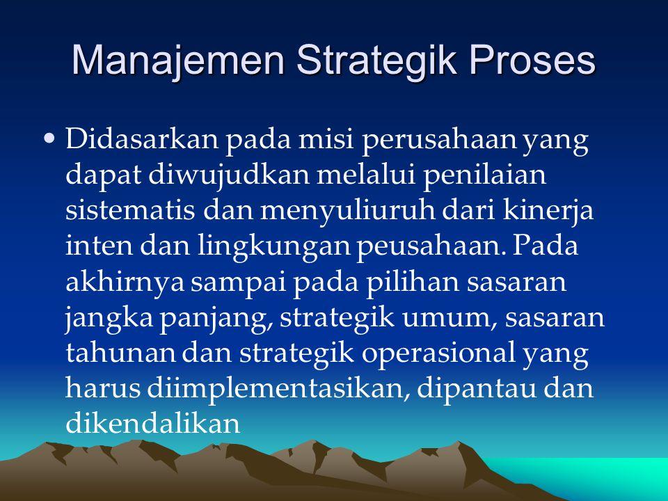 Manajemen Strategik Proses Didasarkan pada misi perusahaan yang dapat diwujudkan melalui penilaian sistematis dan menyuliuruh dari kinerja inten dan lingkungan peusahaan.