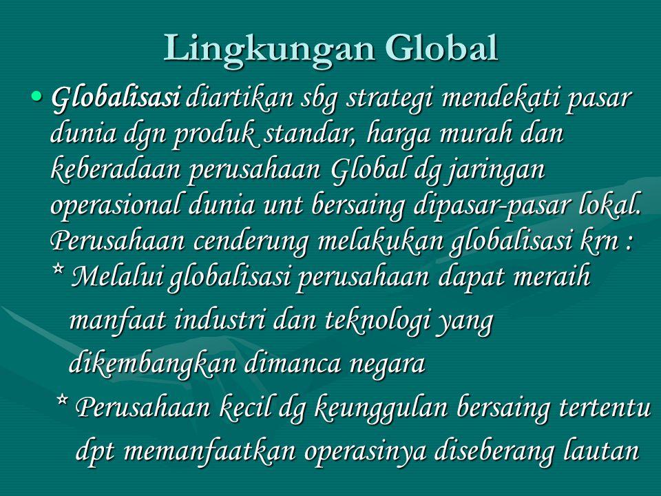 Lingkungan Global Globalisasi diartikan sbg strategi mendekati pasar dunia dgn produk standar, harga murah dan keberadaan perusahaan Global dg jaringan operasional dunia unt bersaing dipasar-pasar lokal.