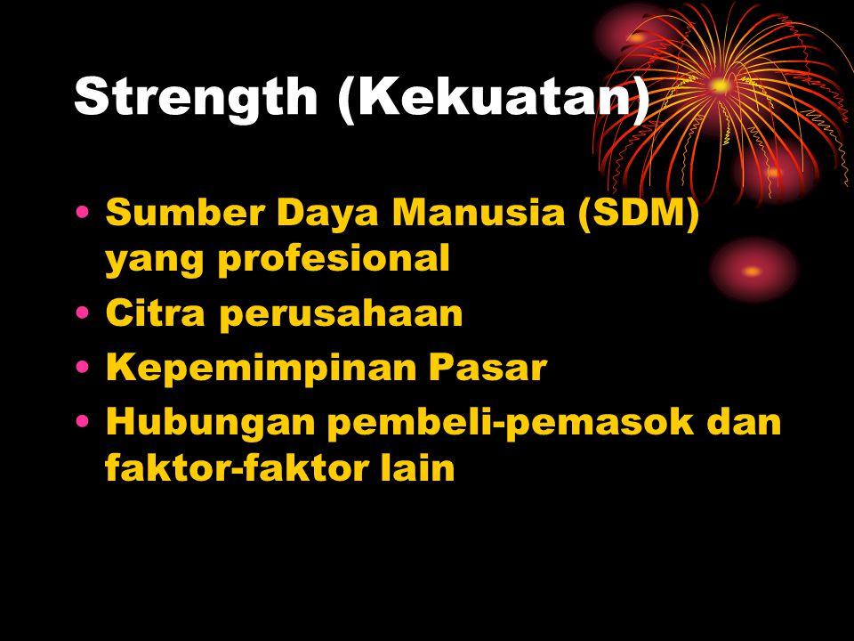 Strength (Kekuatan) Sumber Daya Manusia (SDM) yang profesional Citra perusahaan Kepemimpinan Pasar Hubungan pembeli-pemasok dan faktor-faktor lain