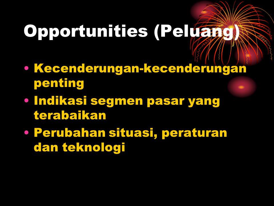 Opportunities (Peluang) Kecenderungan-kecenderungan penting Indikasi segmen pasar yang terabaikan Perubahan situasi, peraturan dan teknologi