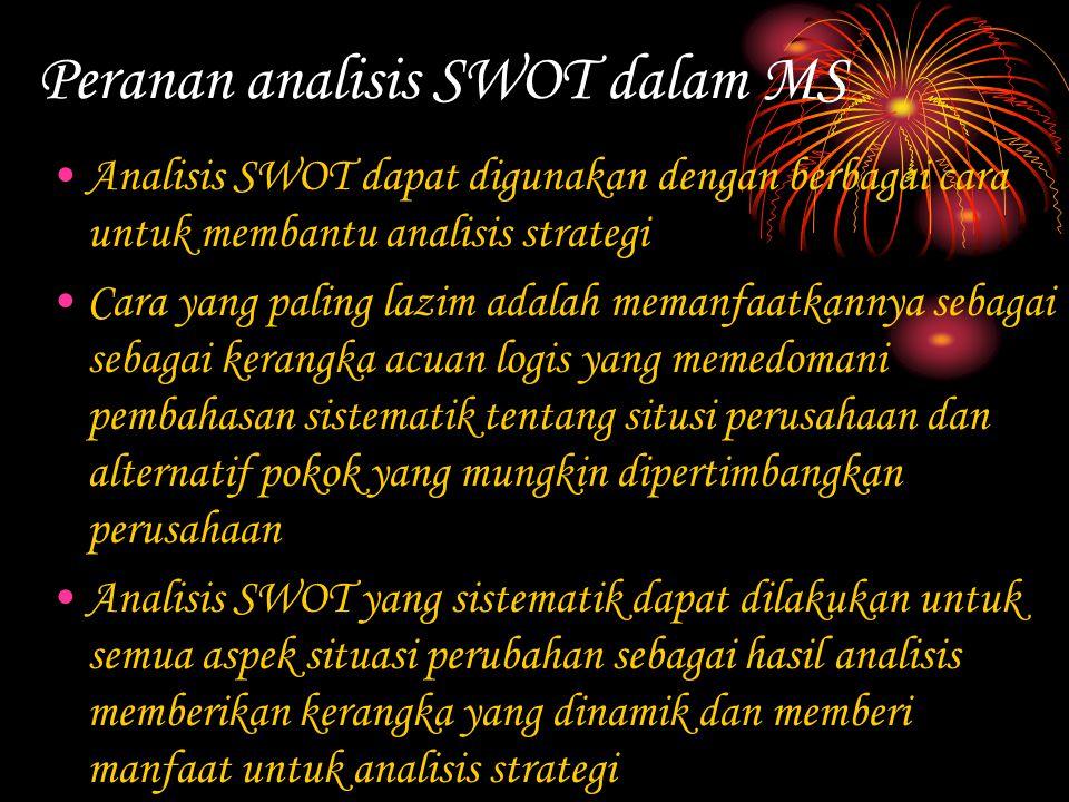Peranan analisis SWOT dalam MS Analisis SWOT dapat digunakan dengan berbagai cara untuk membantu analisis strategi Cara yang paling lazim adalah meman