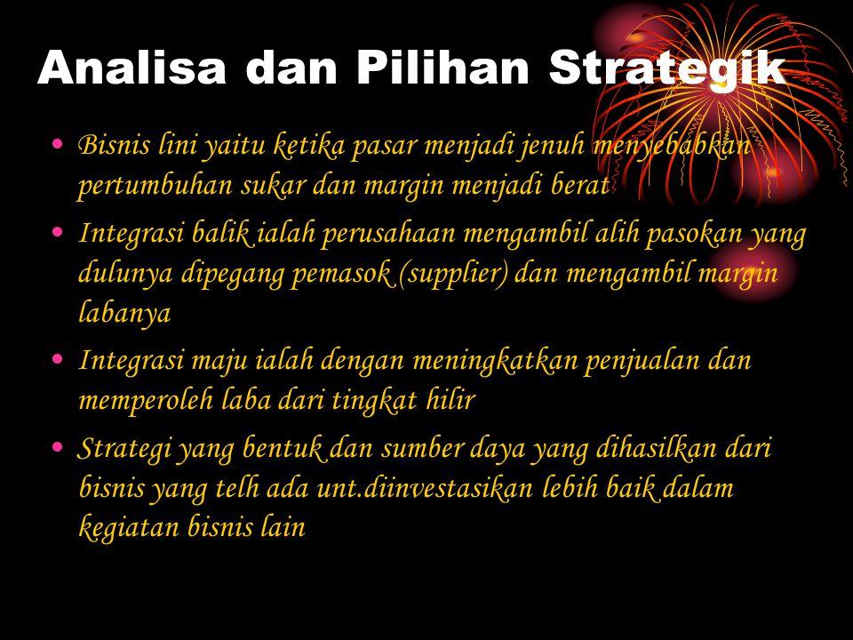 Analisa dan Pilihan Strategik Bisnis lini yaitu ketika pasar menjadi jenuh menyebabkan pertumbuhan sukar dan margin menjadi berat Integrasi balik iala