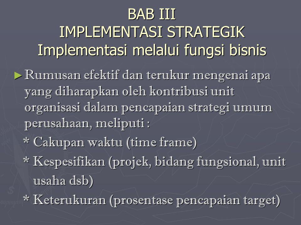 BAB III IMPLEMENTASI STRATEGIK Implementasi melalui fungsi bisnis ► Rumusan efektif dan terukur mengenai apa yang diharapkan oleh kontribusi unit organisasi dalam pencapaian strategi umum perusahaan, meliputi : * Cakupan waktu (time frame) * Cakupan waktu (time frame) * Kespesifikan (projek, bidang fungsional, unit * Kespesifikan (projek, bidang fungsional, unit usaha dsb) usaha dsb) * Keterukuran (prosentase pencapaian target) * Keterukuran (prosentase pencapaian target)