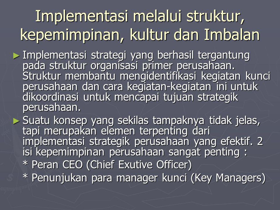 Implementasi melalui struktur, kepemimpinan, kultur dan Imbalan ► Implementasi strategi yang berhasil tergantung pada struktur organisasi primer perusahaan.