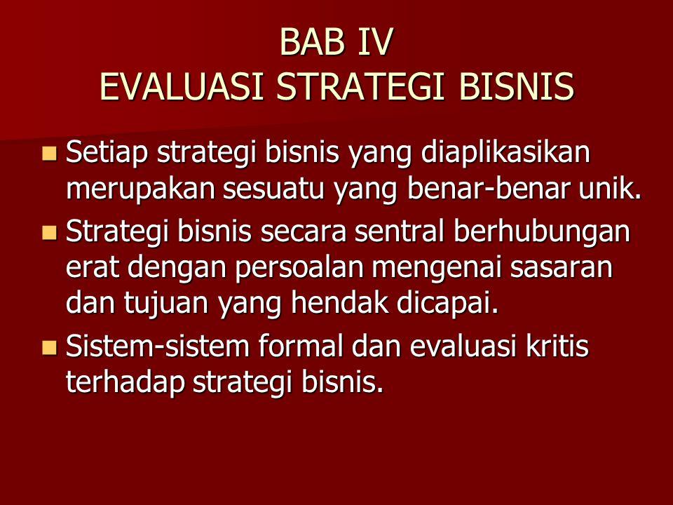 BAB IV EVALUASI STRATEGI BISNIS Setiap strategi bisnis yang diaplikasikan merupakan sesuatu yang benar-benar unik. Setiap strategi bisnis yang diaplik