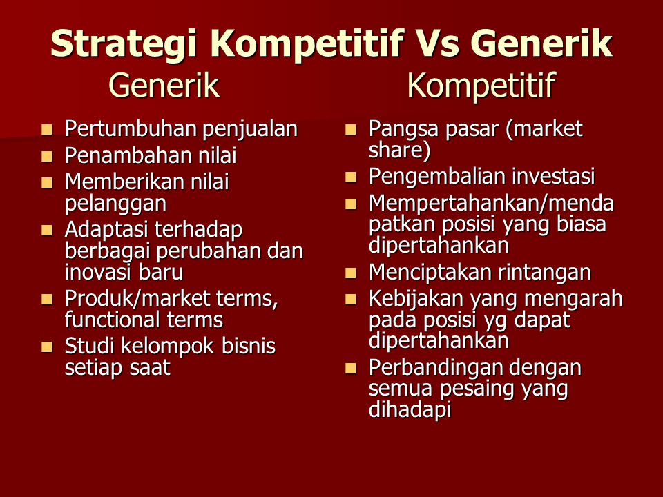 Strategi Kompetitif Vs Generik Generik Kompetitif Pertumbuhan penjualan Pertumbuhan penjualan Penambahan nilai Penambahan nilai Memberikan nilai pelan