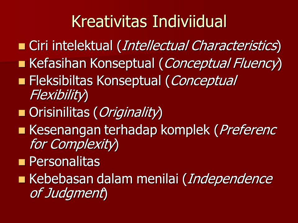 Kreativitas Indiviidual Ciri intelektual (Intellectual Characteristics) Ciri intelektual (Intellectual Characteristics) Kefasihan Konseptual (Conceptual Fluency) Kefasihan Konseptual (Conceptual Fluency) Fleksibiltas Konseptual (Conceptual Flexibility) Fleksibiltas Konseptual (Conceptual Flexibility) Orisinilitas (Originality) Orisinilitas (Originality) Kesenangan terhadap komplek (Preferenc for Complexity) Kesenangan terhadap komplek (Preferenc for Complexity) Personalitas Personalitas Kebebasan dalam menilai (Independence of Judgment) Kebebasan dalam menilai (Independence of Judgment)