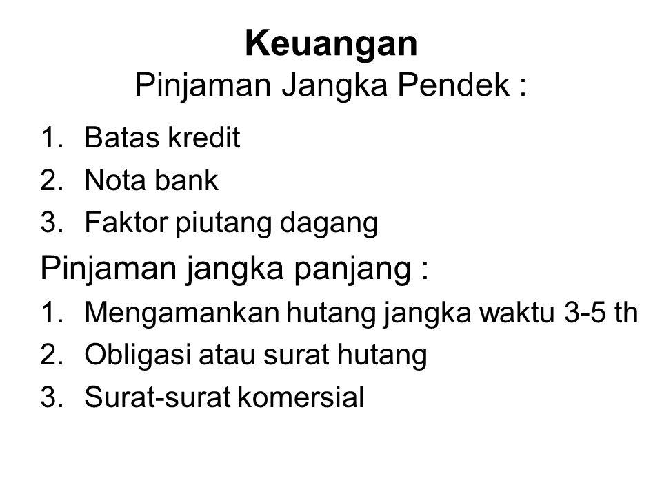 Keuangan Pinjaman Jangka Pendek : 1.Batas kredit 2.Nota bank 3.Faktor piutang dagang Pinjaman jangka panjang : 1.Mengamankan hutang jangka waktu 3-5 th 2.Obligasi atau surat hutang 3.Surat-surat komersial
