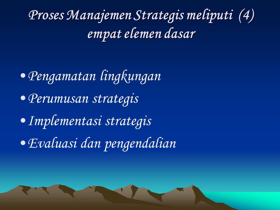 Proses Manajemen Strategis meliputi (4) empat elemen dasar Pengamatan lingkungan Perumusan strategis Implementasi strategis Evaluasi dan pengendalian