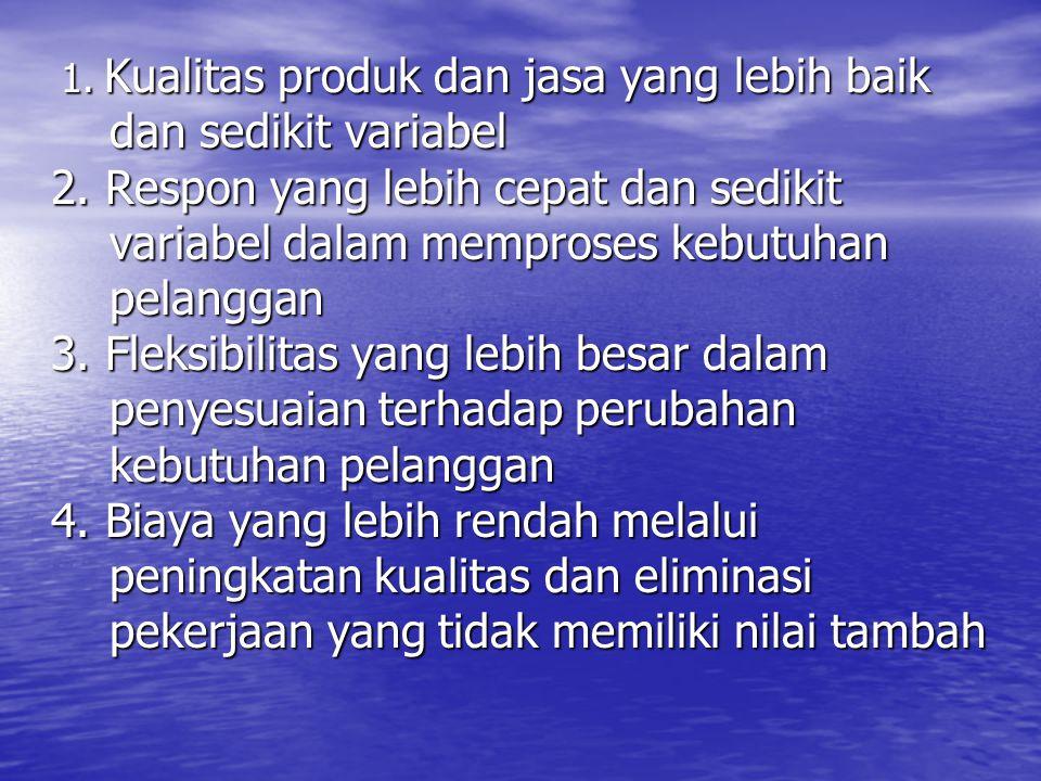 1. Kualitas produk dan jasa yang lebih baik 1. Kualitas produk dan jasa yang lebih baik dan sedikit variabel dan sedikit variabel 2. Respon yang lebih