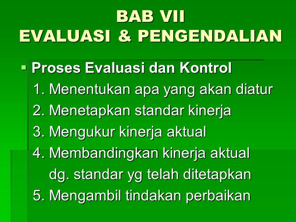 BAB VII EVALUASI & PENGENDALIAN  Proses Evaluasi dan Kontrol 1. Menentukan apa yang akan diatur 1. Menentukan apa yang akan diatur 2. Menetapkan stan