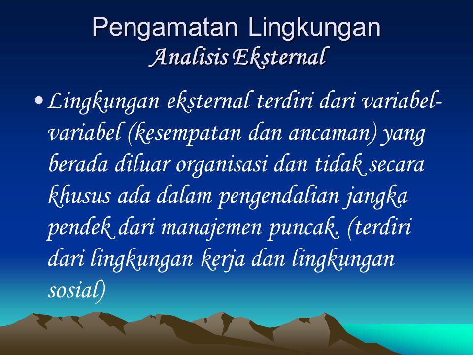 Pengamatan Lingkungan Analisis Eksternal Lingkungan eksternal terdiri dari variabel- variabel (kesempatan dan ancaman) yang berada diluar organisasi d