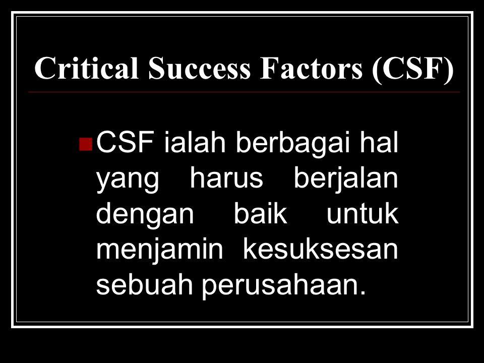 Critical Success Factors (CSF) CSF ialah berbagai hal yang harus berjalan dengan baik untuk menjamin kesuksesan sebuah perusahaan.