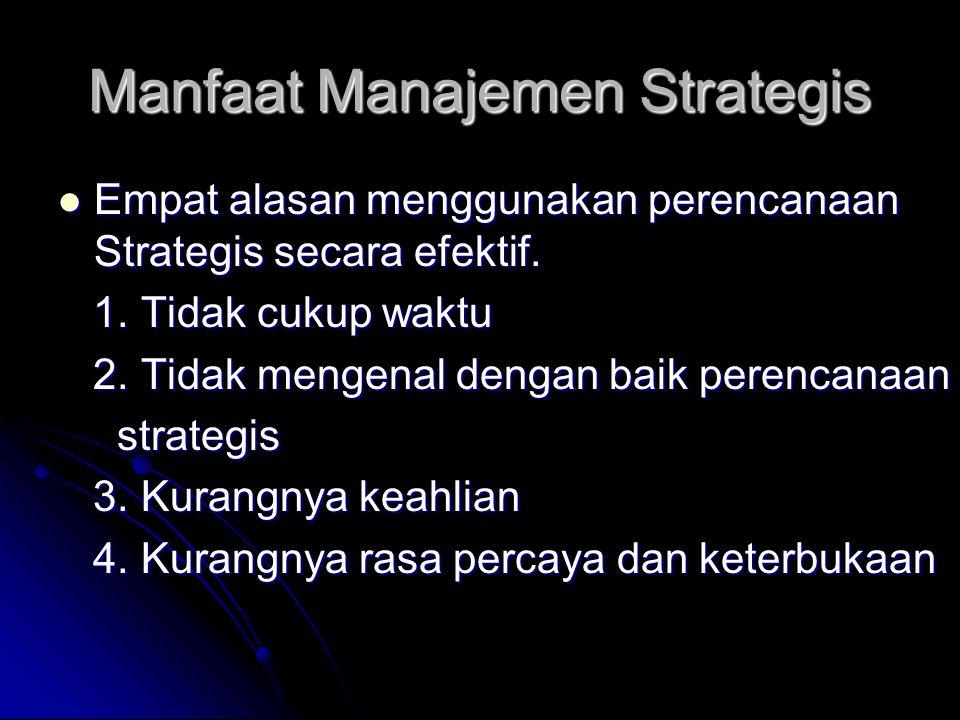 Manfaat Manajemen Strategis Empat alasan menggunakan perencanaan Strategis secara efektif. Empat alasan menggunakan perencanaan Strategis secara efekt