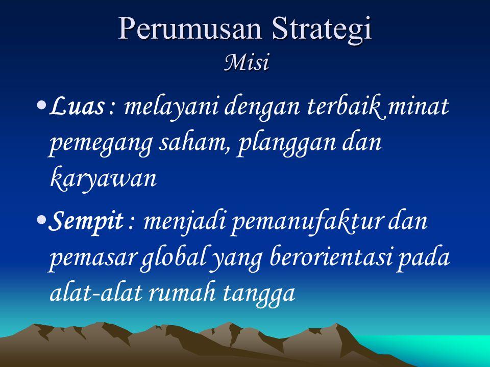 Perumusan Strategi Misi Luas : melayani dengan terbaik minat pemegang saham, planggan dan karyawan Sempit : menjadi pemanufaktur dan pemasar global ya