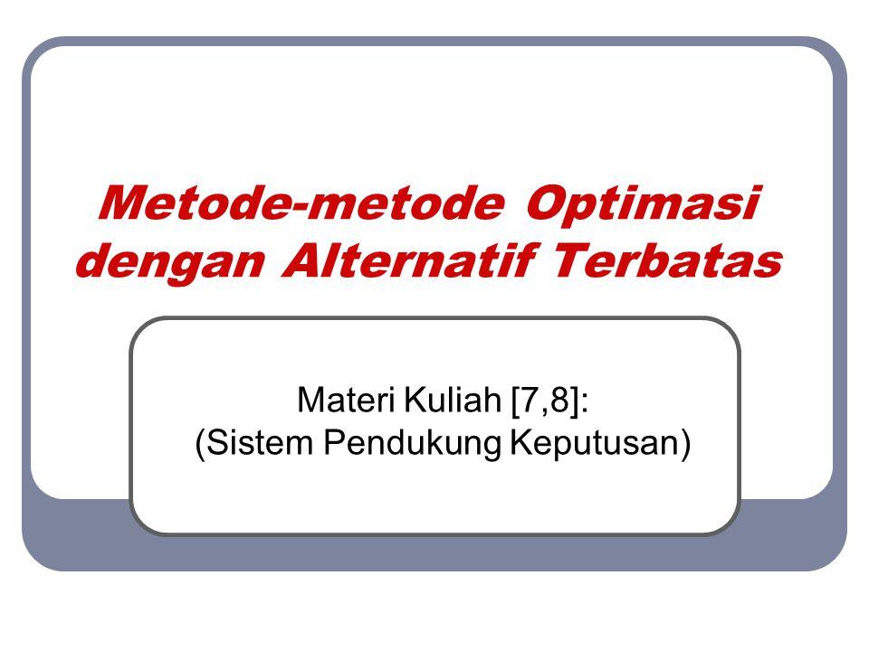 Simple Additive Weighting (SAW)  Tabel nilai alternatif di setiap kriteria: Alternatif Kriteria C1C2C3C4 Indra70508060 Roni50608270 Putri85558075 Dani82706585 Ratna75 8574 Mira62507580