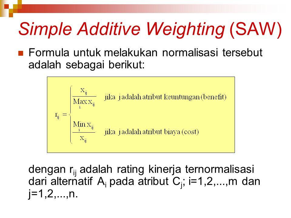 Simple Additive Weighting (SAW) Formula untuk melakukan normalisasi tersebut adalah sebagai berikut: dengan r ij adalah rating kinerja ternormalisasi