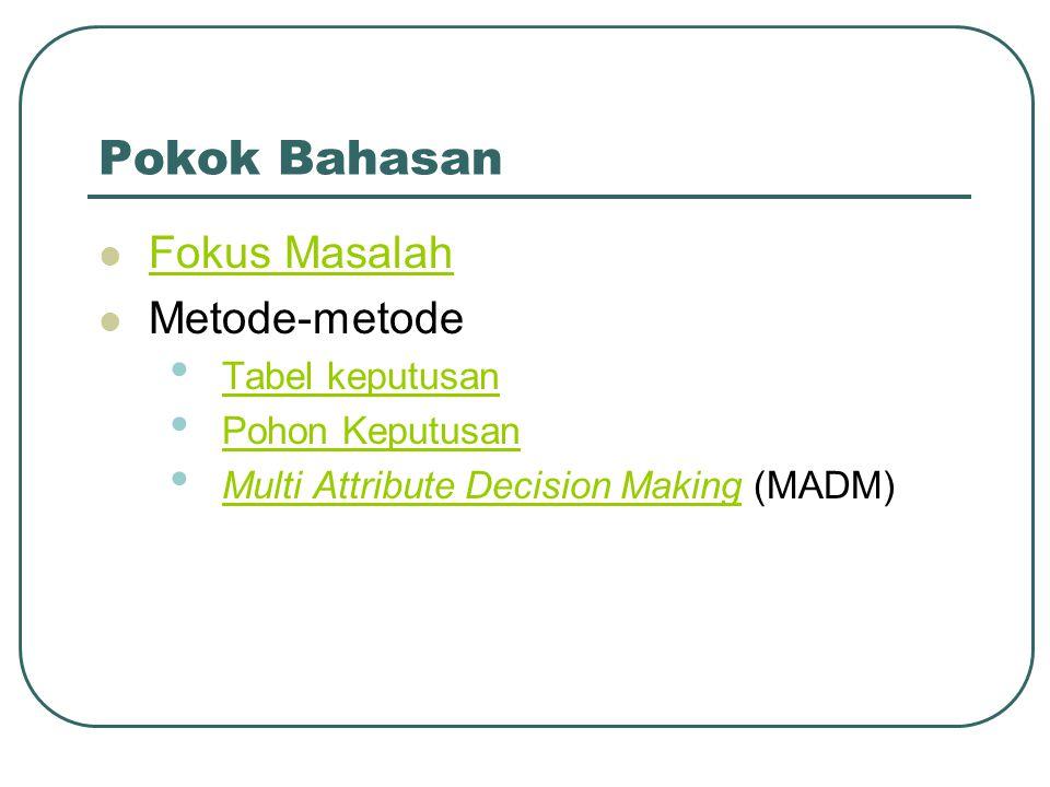Multi-Attribute Decision Making (MADM)  Rating kinerja (X), dan nilai bobot (W) merupakan nilai utama yang merepresentasikan preferensi absolut dari pengambil keputusan.
