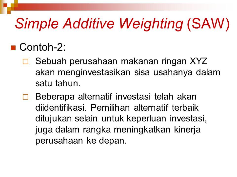 Simple Additive Weighting (SAW) Contoh-2:  Sebuah perusahaan makanan ringan XYZ akan menginvestasikan sisa usahanya dalam satu tahun.  Beberapa alte