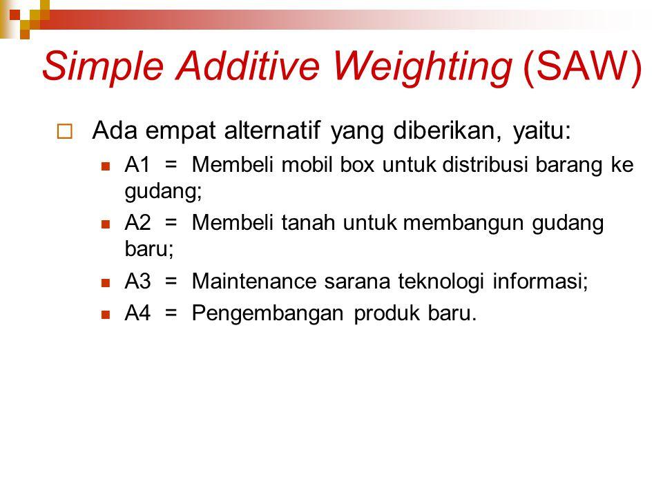 Simple Additive Weighting (SAW)  Ada empat alternatif yang diberikan, yaitu: A1=Membeli mobil box untuk distribusi barang ke gudang; A2=Membeli tanah