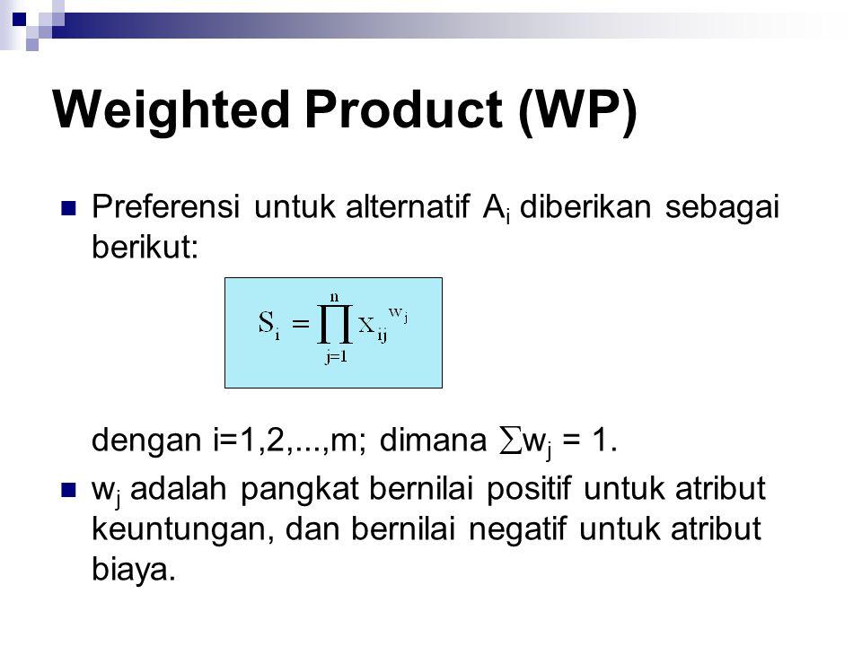 Preferensi untuk alternatif A i diberikan sebagai berikut: dengan i=1,2,...,m; dimana  w j = 1. w j adalah pangkat bernilai positif untuk atribut keu