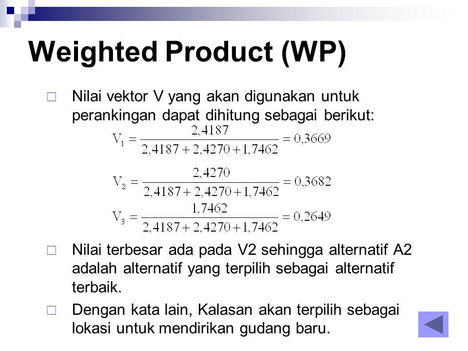  Nilai vektor V yang akan digunakan untuk perankingan dapat dihitung sebagai berikut:  Nilai terbesar ada pada V2 sehingga alternatif A2 adalah alte