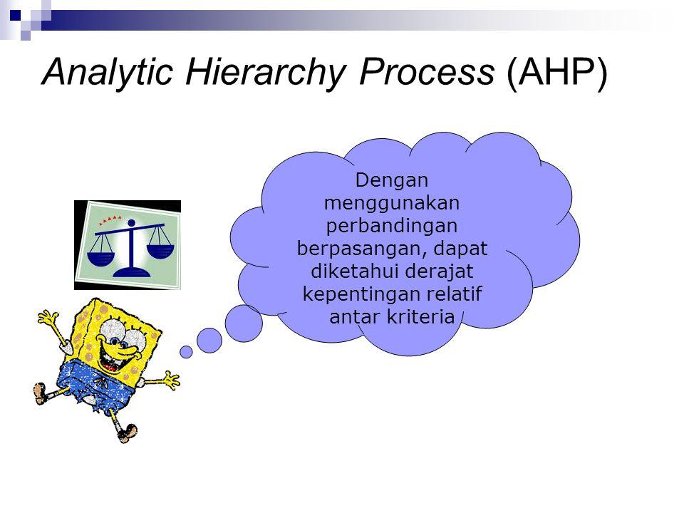 Dengan menggunakan perbandingan berpasangan, dapat diketahui derajat kepentingan relatif antar kriteria Analytic Hierarchy Process (AHP)