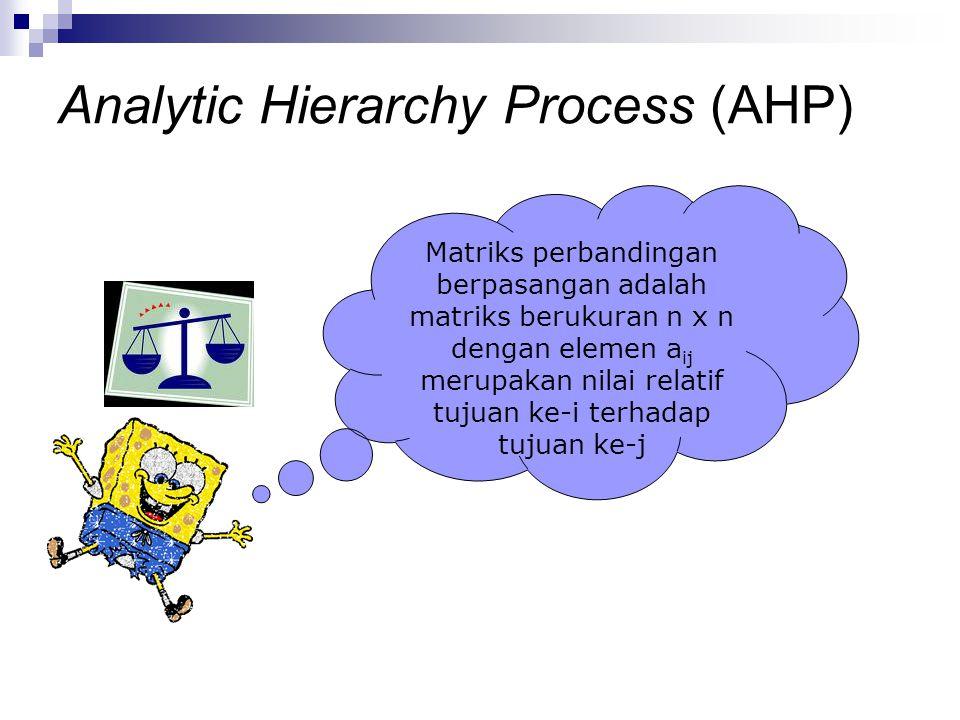 Matriks perbandingan berpasangan adalah matriks berukuran n x n dengan elemen a ij merupakan nilai relatif tujuan ke-i terhadap tujuan ke-j Analytic H