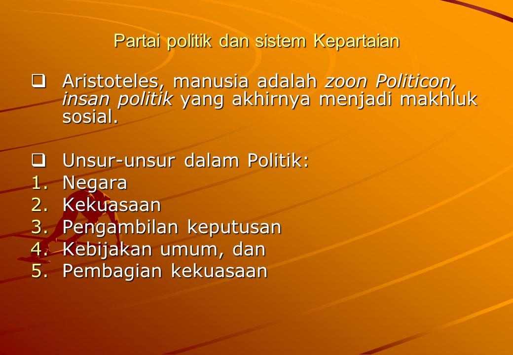 Partai politik dan sistem Kepartaian  Aristoteles, manusia adalah zoon Politicon, insan politik yang akhirnya menjadi makhluk sosial.