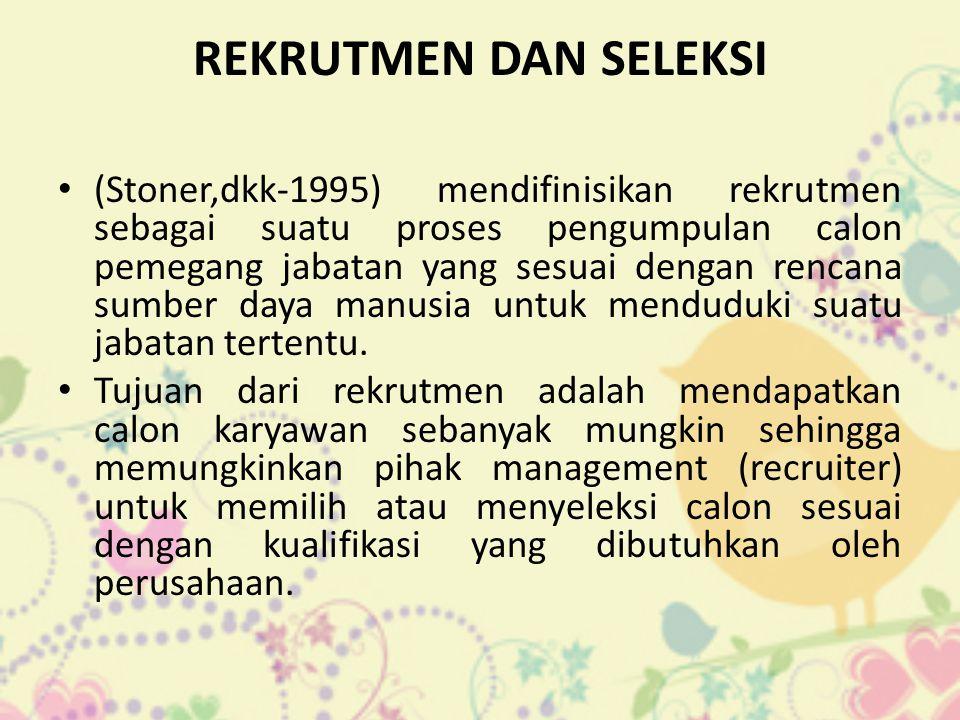 REKRUTMEN DAN SELEKSI (Stoner,dkk-1995) mendifinisikan rekrutmen sebagai suatu proses pengumpulan calon pemegang jabatan yang sesuai dengan rencana sumber daya manusia untuk menduduki suatu jabatan tertentu.