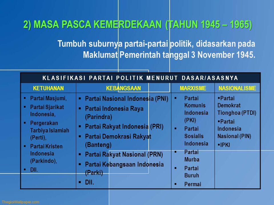 2)MASA PASCA KEMERDEKAAN (TAHUN 1945 – 1965) Tumbuh suburnya partai-partai politik, didasarkan pada Maklumat Pemerintah tanggal 3 November 1945.