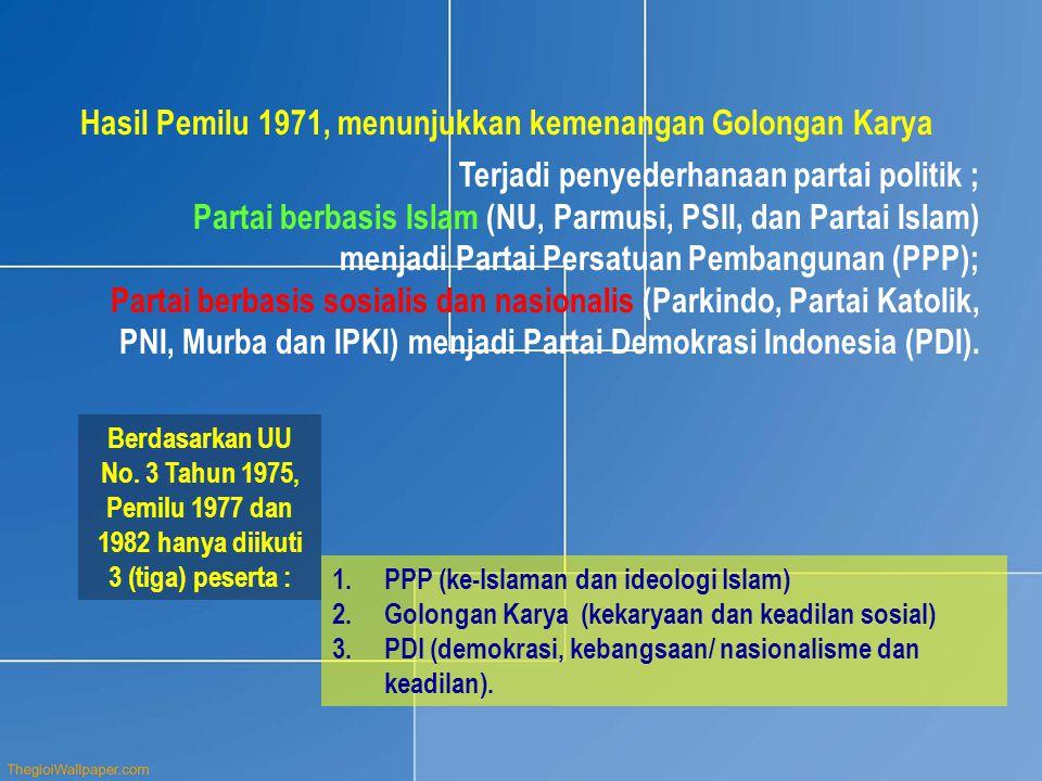Hasil Pemilu 1971, menunjukkan kemenangan Golongan Karya Berdasarkan UU No. 3 Tahun 1975, Pemilu 1977 dan 1982 hanya diikuti 3 (tiga) peserta : 1.PPP
