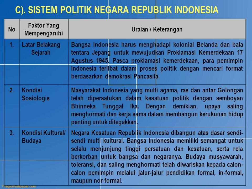 C). SISTEM POLITIK NEGARA REPUBLIK INDONESIA No Faktor Yang Mempengaruhi Uraian / Keterangan 1.Latar Belakang Sejarah Bangsa Indonesia harus menghadap