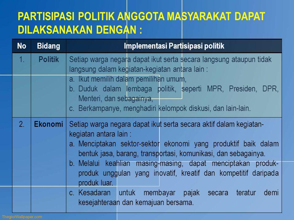 PARTISIPASI POLITIK ANGGOTA MASYARAKAT DAPAT DILAKSANAKAN DENGAN : NoBidangImplementasi Partisipasi politik 1. Politik Setiap warga negara dapat ikut