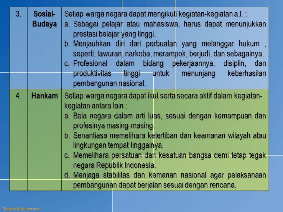 3. Sosial- Budaya Setiap warga negara dapat mengikuti kegiatan-kegiatan a.l. : a.Sebagai pelajar atau mahasiswa, harus dapat menunjukkan prestasi bela