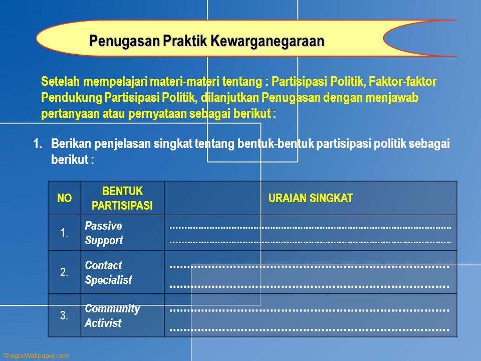 Setelah mempelajari materi-materi tentang : Partisipasi Politik, Faktor-faktor Pendukung Partisipasi Politik, dilanjutkan Penugasan dengan menjawab pe