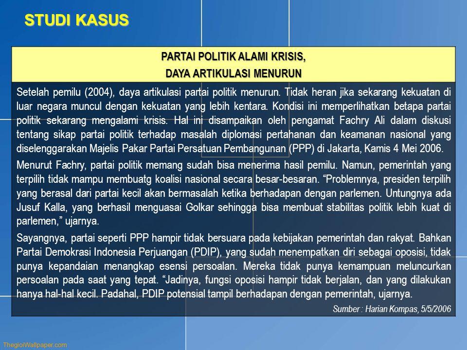 STUDI KASUS PARTAI POLITIK ALAMI KRISIS, DAYA ARTIKULASI MENURUN Setelah pemilu (2004), daya artikulasi partai politik menurun.