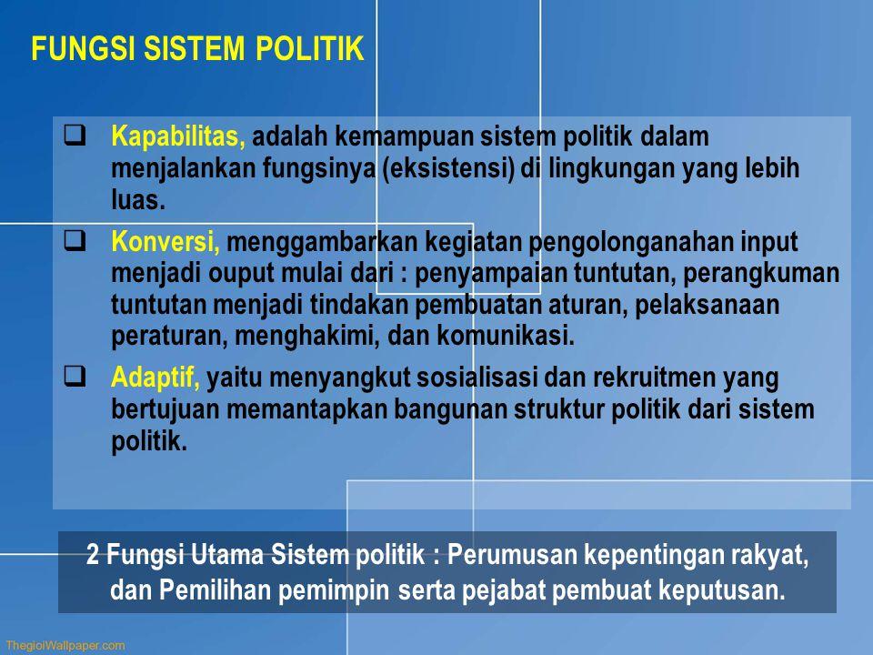 b.PARTAI POLITIK ( POLITICAL PARTAI ) DI INDONESIA Eksistensi parpol merupakan prasyarat, baik sebagai sarana penyaluran aspirasi rakyat, maupun dalam proses penyelenggaraan negara melalui wakil- wakilnya di dalam badan perwakilan rakyat.