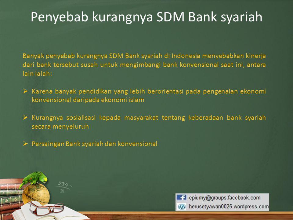 Penyebab kurangnya SDM Bank syariah Banyak penyebab kurangnya SDM Bank syariah di Indonesia menyebabkan kinerja dari bank tersebut susah untuk mengimb